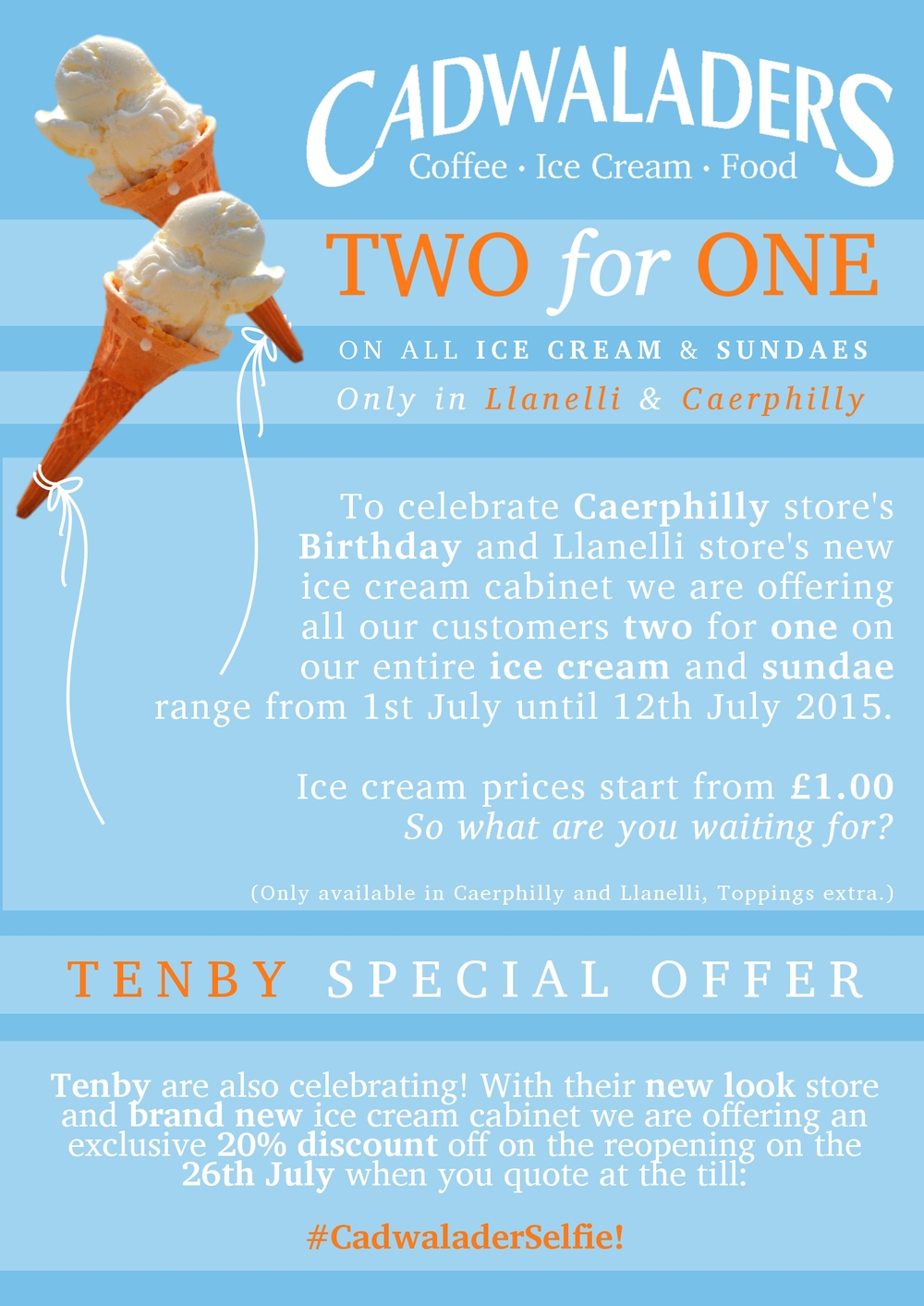 cadwaladers two for one offer poster
